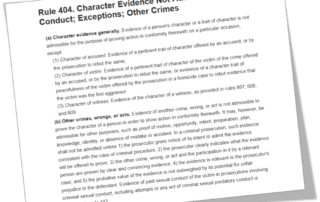 Rule 404 Character Evidence Not Admissible to Prove Conduct